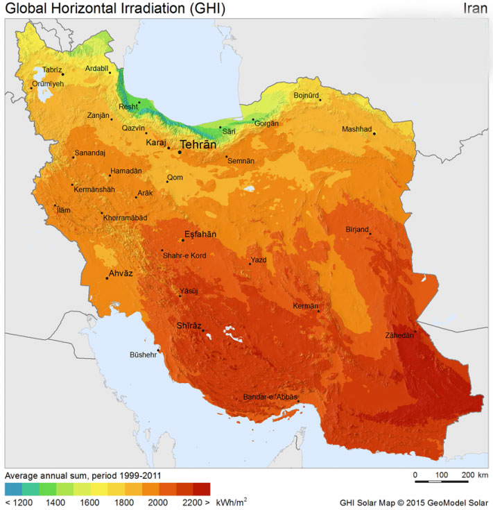 پتانسیل انرژی خورشیدی در ایران